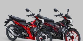 Suzuki all New Satria F150 warna Stronger red dan Titan Black - Red CW